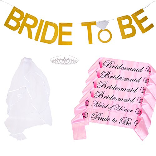 Bachelorette Party Bride to Be Kit - 6 Unique Sash for Bride, Bridesmaid and Maid Of Honor,1 Rhinestone Tiara, 1 Wedding Veil with Comb, 1 Bride To Be Banner (PINK)