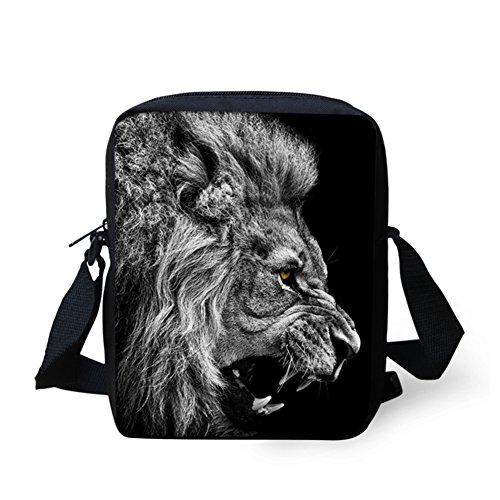 HUGS IDEA Leopard Print Small Messenger Bag Travel Shopping Cross Body Bag Handbags Cellphone Pouch Lion
