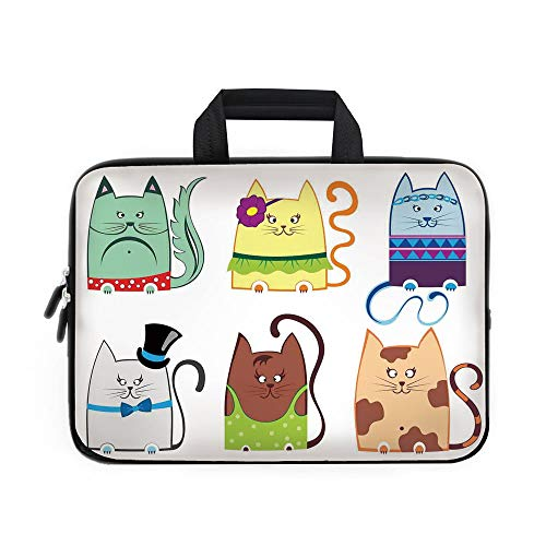 Cat Laptop Carrying Bag Sleeve,Neoprene Sleeve Case/Cute Cat Illustration Series with Different Fashion Styles Females Trendy Pets Little Paws/for Apple MacBook Air Samsung Google Acer HP DELL Lenovo