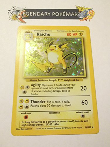 Holofoil Card Set (Pokemon Base Set Holofoil Card #14/102 Raichu)