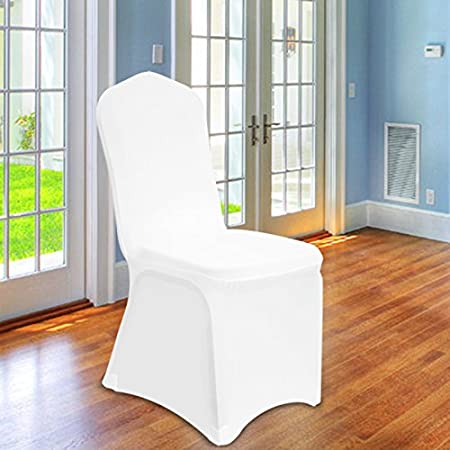 high quality 200 gsm chair covers spandex lycra universal slipcovers dining chair cover wedding banquet party flat front white