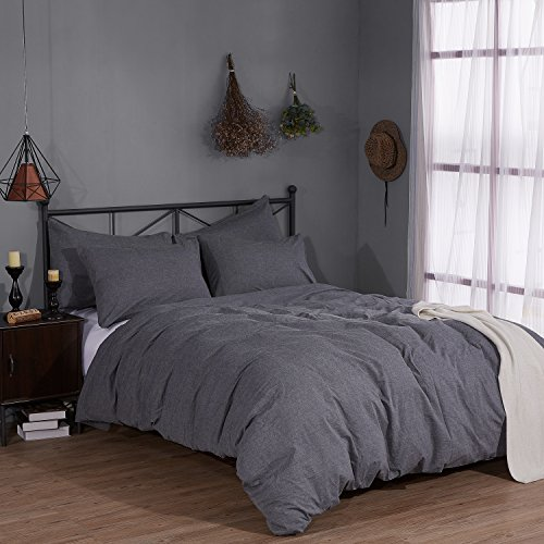 Rural Dandelion 100  Washed Cotton Duvet Cover Bedding Set   Healthy   Comfortable And Unique Style   King  Dark Gray