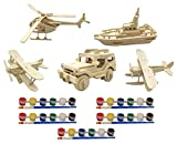 childrens wood building kit - Original Hobby Wood Craft 3D Puzzles (Set of 5 includes Biplane, Seaplane, Helicopter, Boat, Jeep) with 5 Sets of Paints