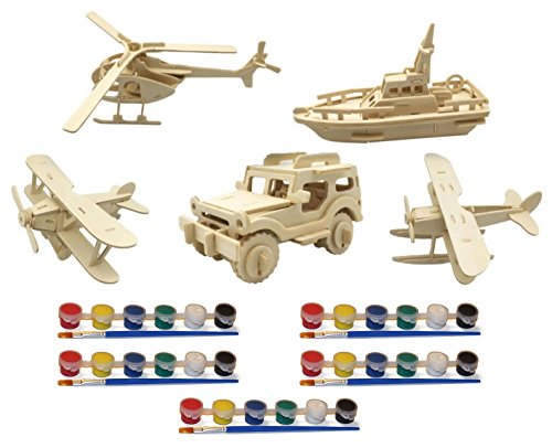 Original Hobby Wood Craft 3D Puzzles (Set of 5 Includes Biplane, Seaplane, Helicopter, Boat, Jeep) with 5 Sets of Paints -