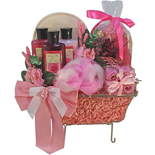 Pretty in Pink Rose Bathtub Spa Bath and Body Gift Basket Set