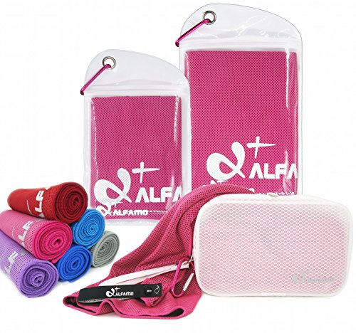 Cooling Golf Towel for Instant Relief, 40 Inch Long As Scarf, Soft Breathable Yoga Towel, Stay Cool for Running Tennis Soccer Football & Other Sports, Great Gift for Workout Gym Lovers, Fuchsia