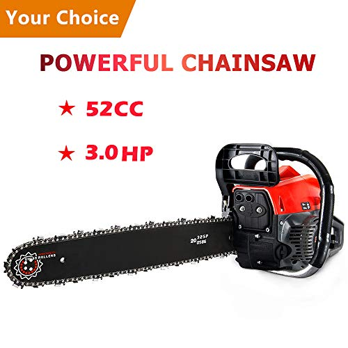 Meditool 3.0HP 52CC Chainsaw, 20-Inch Petrol ChainSaw with Bar Cover, Tool Kit, Fuel Mixing Bottle, Manual