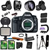 Canon EOS 5D Mark III (Body Only) Kit Includes .43x Fisheye + 2.2x Telephoto Lenses + Case + LED Light + 2 SD 32GB Card + Extra Battery & Charger + UV Filter + Tripod + Monopod + Battery Grip