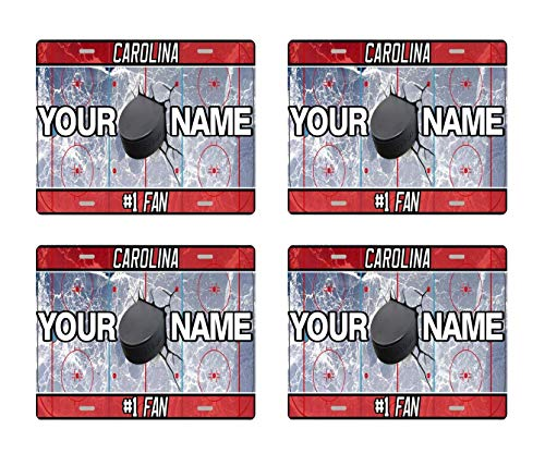 BRGiftShop Personalize Your Own Hockey Team Carolina Set of 4 Square Beverage Coasters