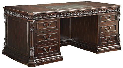 Fluted Cherry Pedestal - Tucker Double Pedestal Executive Desk with Leather Insert Top Rich Brown