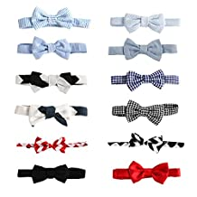 "Laribbons 12 Pack 3.5"" Infant Boys Dailty Adjustable Bow Ties, Party Self Tie"