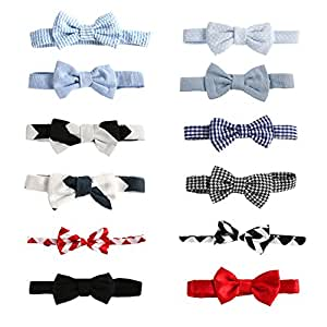 Laribbons 12 Pack 3.5'' Infant Boys Dailty Adjustable Bow Ties, Party Self Tie