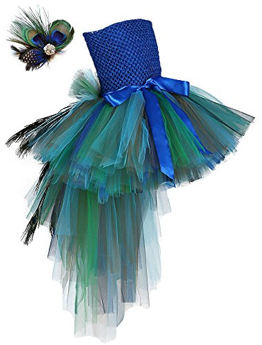 Tutu Dreams Fancy Feather Peacock Costume Outfit Long Train Dress and Headband-Medium Size 8