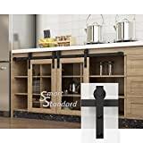 SMARTSTANDARD SDH0050MINIJ2BK 5ft Mini Double Cabinet Sliding Barn Door Hardware Kit, for TV Stand Wardrobe, Black, Single Rail, Easy to Install, Fit 15