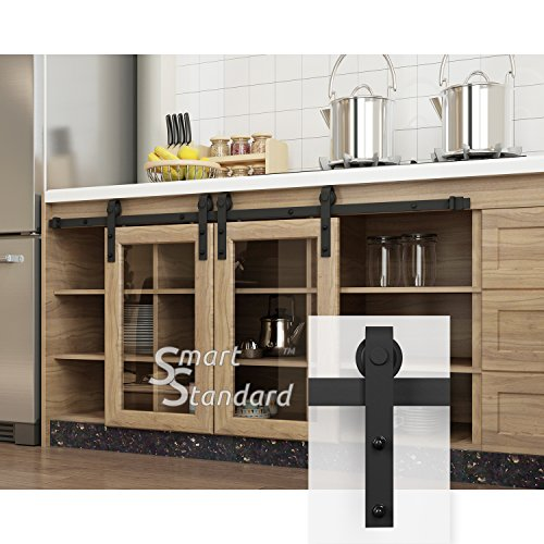 (SMARTSTANDARD 5FT Mini Sliding Barn Door Hardware Kit, for for Double Opening Cabinet TV Stand Closet, Black, One-Piece Track Rail, Easy to Install, Fit 20