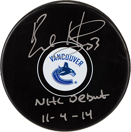 (Bo Horvat Vancouver Canucks Autographed Hockey Puck with NHL Debut 11/4/14 Inscription - Fanatics Authentic Certified)