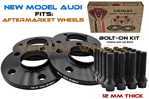 4Pc New Model Audi Wheel Spacers | 12 mm Thick | 5x112mm | 66.6mm | +20 Black Cone Lug Bolts |2009-2019 A4 A5 A6 A7 A8 All Road S4 S5 S6 S7 RS5 RS7 Q5 SQ5 W/Aftermarket Wheels