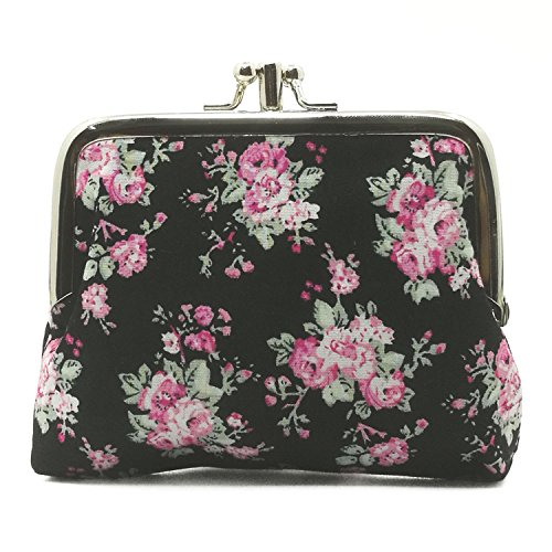 Cute Floral Buckle Coin Purses Vintage Pouch Kiss-lock Change Purse Wallets - Purse Coin Lock