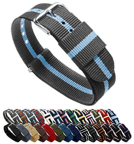 - BARTON Watch Bands - Choice of Color, Length & Width (18mm, 20mm, 22mm or 24mm) - Smoke/Sky 20mm - Standard Length
