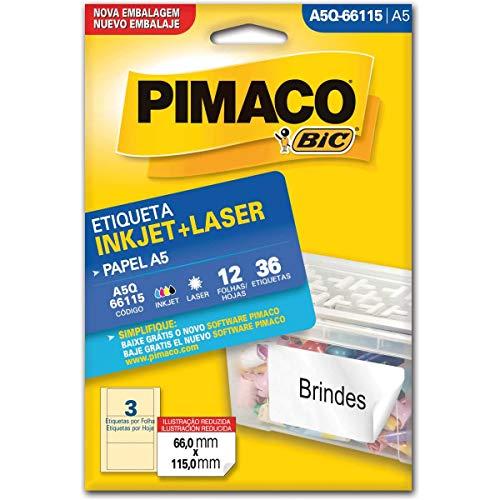 Pimaco Etiqueta Adesiva, BIC, 874865, Branco, 12 etiquetas