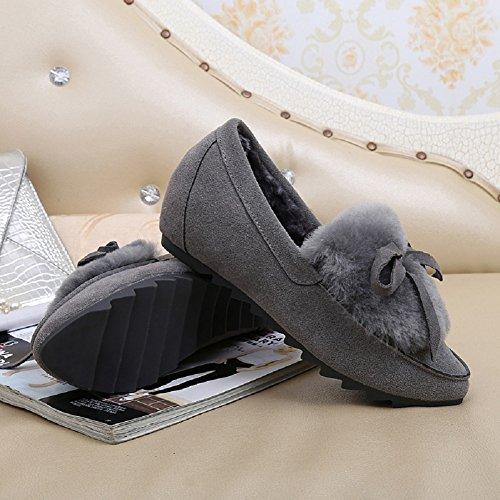 Mocassino Da Donna In Morbida Peluche Ciabattine Invernali Bowknot Comode Pantofole Mocassini Per Interni Grigio Esterno