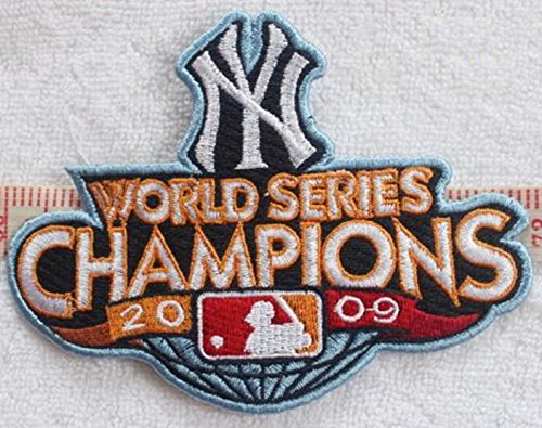 New York Yankees 2009 World Series Champions MLB Embroidered Iron On Patches Hat Jersey 5x3 1/2