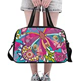Unique Debora Custom Weekend Travel Bag Unisex Travel Gear Luggage for Summer Pattern Of Butterflies And Flowers