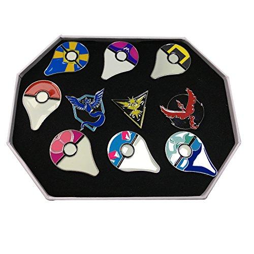 2016 New Pokemon Gym Badges + Go Badges Collection box Set of 11pcs (Blue)