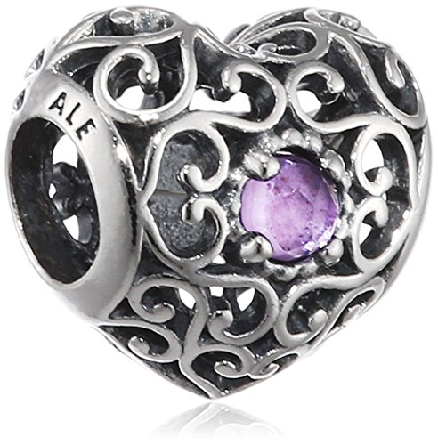 Amethyst Charms Heart (Pandora 791784sam February Signature Heart Synthetic Charm)
