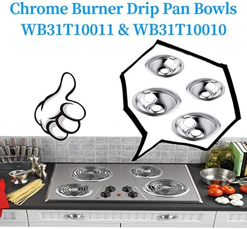 Drip Pans WB31T10011 & WB31T10010 Chrome Drip Bowl Set 4-Pack Fits for GE Electric Range by means of APPLIANCEMATES Replacement Part 2 Pack for 8 inch and a couple of Pack for six Inch Burner