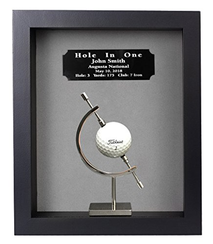Golf Trophy Shadow Box - Eureka Golf Products Hole-In-One Shadow Box and Caliper-Free Engraved Plate (Black)