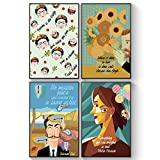 Pillow & Toast, Set of FOUR, Famous Artists Quotes Posters: Picasso, Salvador Dalí, Frida Kahlo, and Van Gogh Motivational Wall Art. Perfect for School and art class Decoration.