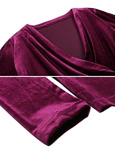 Manche Vin V Tee Lache Col Tops Femme en Velours Rouge Longue Ruch Meaneor Blouse Shirt xRwOqYpx4P