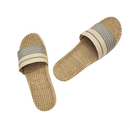 HRFEER Home Slippers Women Linen Indoor Shoes Men Beach Slipper Silent Flip Flops for Women Sandals by HRFEER (Image #2)