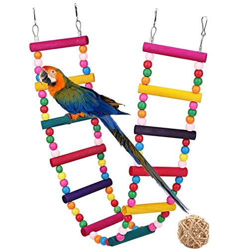 G GANEN Wood Bird Ladder, Parrot Ladder Swing Bridge Parrot Swings,Ladders for Pet Trainning