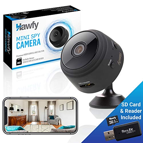 (Hawfy Mini HD Wireless Hidden Camera - Magnetic Feature for Easy Installation with SD Card and Reader - Smart Motion Detection, Instant Push Notifications, Night Vision Spy Cam - Mini Spy Camera )