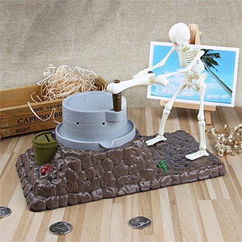 vmree Skeleton Push Millstone Piggy Bank Originality Automated Money Coin Saving Box Funny Desktop Decor Creative Gift for Kids Adults (A)