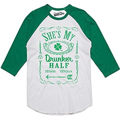 Mens Shes My Drunker Half Funny Couples Saint Patricks Day Drinking Raglan Shirt