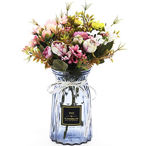 UltraOutlet 3 Packs Artificial Peonies Silk Flowers with Vase Faked Peony Flowers DIY Bouquets Arrangement Centerpiece for Wedding, Baby Shower, Birthday Party, Home Decoration