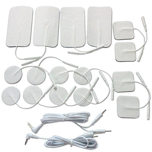TENS Unit Electrodes Replacement Pads ,No gel needed. Small & Large Size 16-Pack, Self-adhesive Electrodes for TENS / EMS / Electrotherapy +Bonus Gift - FREE $6.99 Value Dual Leads Wire