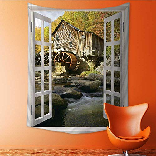 - Auraisehome Vertical Version Tapestry Glade Creek Grist Mill in Babcock State Park West Virginia Throw, Bed, Tapestry, or Yoga Blanket 54W x 84L INCH