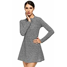 ANGVNS Women Cowl Neck Knit Elasticity Long Sleeve Slim Fit Sweater Dress