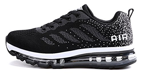 ECOTISH Mens Womens Gym Running Shoe Trainers Sports Fitness Running Shoes Gym Athletic Sneakers Black 1Zz589m