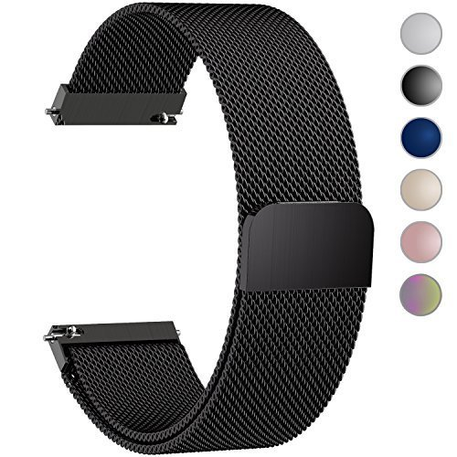 6 Colors for Quick Release Watch Strap, Fullmosa Milanese Magnetic Closure Stainless Steel Watch Band Replacement Strap for 16mm Black Bulova Mens Black Strap Watch