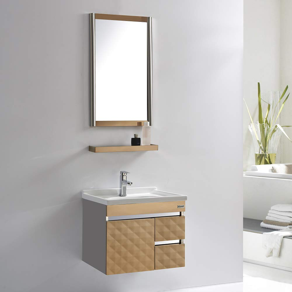 Fuao Sanitaryware Unique Wall Mounted Designer Art Bathroom Vanity With Stainless Steel Cabinet Shelf Mirror And Ceramic Wash Basin Cabinet 600x460 Mm Mirror 800x500 Mm White Amazon In Home Improvement