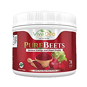 PureBeets | 100% Organic Pure Beet Root Powder | Best Value Beetroot Nitric Oxide Supplement | Beets Support Faster Recovery & Total Body Health – Viva Deo (17.5 oz, 78 Servings)