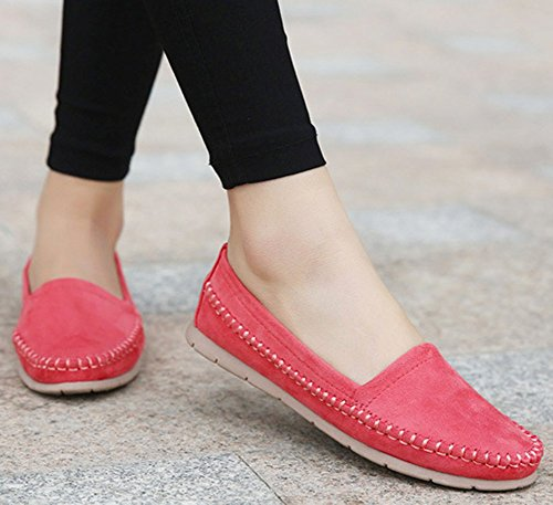 Idifu Mujeres Cómodas Planas De Punta Cerrada Zapatos Planos Low Top Slip On Work Holgazanes De Color Rojo