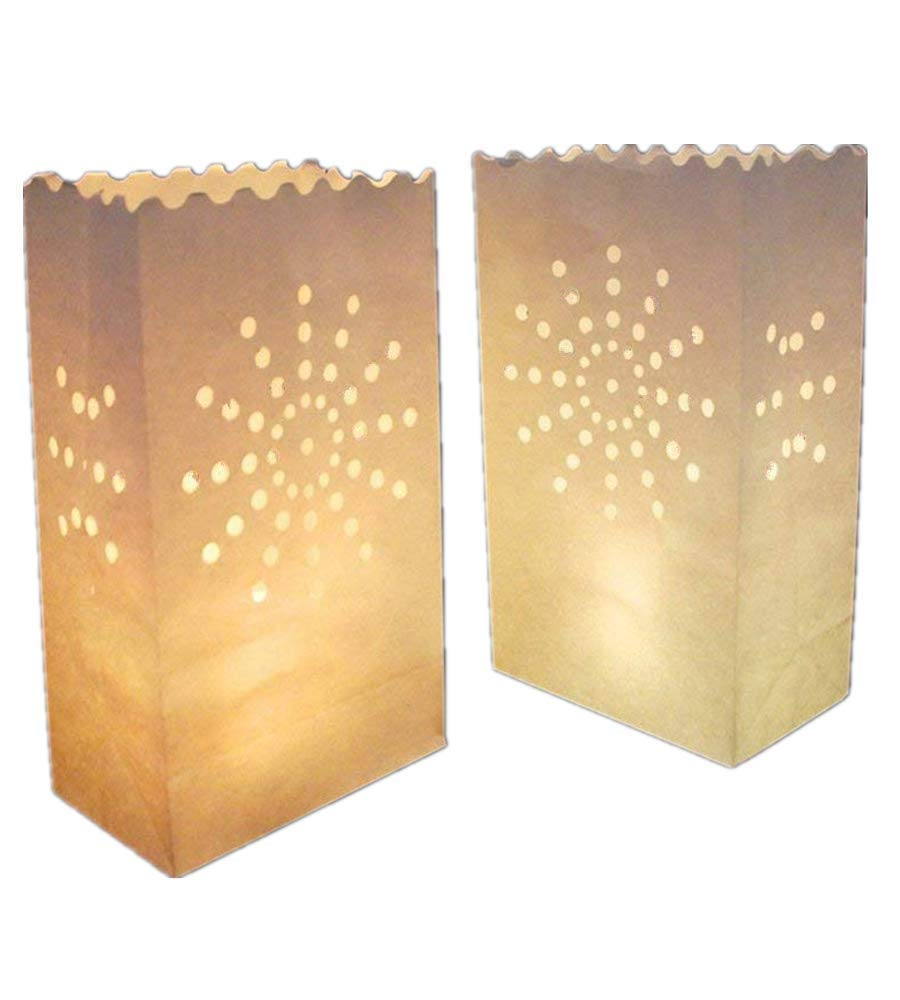 White Paper Tea Light Candle Lantern Bags Wedding Party Garden BBQ Xmas Decor(Firework) Pack of 30 by Unknown