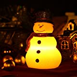 Home impressions Lovely Christmas Snowman Real Wax LED Candle Battery Operated with Timer,Red