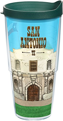 (Tervis 1206931 Texas-San Antonio Alamo Insulated Tumbler with Wrap and Hunter Green Lid, 24oz, Clear)